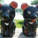 VINTAGE BLACK BEAR SALT & PEPPER SHAKER SET - JAPAN