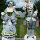 VINTAGE VICTORIAN/COLONIAL FIGURINE PAIR - GOLD TRIM!!