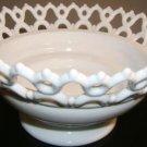 Decorative Milk Glass Lace Trim Fruit Bowl    NICE!!