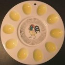 VINTAGE Rooster Deviled Egg & Relish Plate Wall Hanging