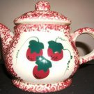 Robinson Ransbottom Sponge Red & Berries Tea Pot  NICE!