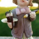 VINTAGE LEFTON CHINA GIRL ARTIST FIGURINE & CURLY HAIR