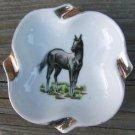 VINTAGE ART DECO PORCELAIN HORSE ASHTRAY - GOLD TRIM