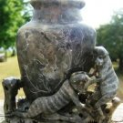 ANTIQUE HAND CARVED SOAP STONE MONKEY VASE 16265 CHINA