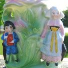 VINTAGE COLONIAL MOTHER & SON BUD VASE (JAPAN) COLORFUL