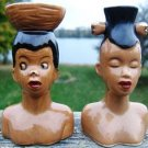 VINTAGE AFRICAN WOMEN SALT & PEPPER SHAKER SET - JAPAN