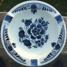 "BLAUW DELFTS ""DISTAL"" FLORAL ASHTRAY - MADE IN HOLLAND"