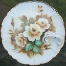 VINTAGE UCAGCO YELLOW ROSE NAPPY PLATE w/ GOLD TRIM
