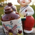VINTAGE DUTCH BOY VENDOR w/ Salt & Pepper Shakers 3 Pc.