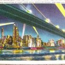 "VINTAGE ""SKYLINE of MANHATTAN @ NIGHT"" POSTCARD K4811"