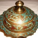 Solid Brass Compote & Lid w/ Etched  Floral Design