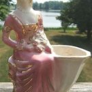 VINTAGE VICTORIAN LADY PLANTER w/ GOLD TRIM - USA L@@K!