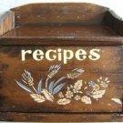 "VINTAGE WOODEN ""RECIPES"" BOX & FLIP UP LID 1950's L@@K!"