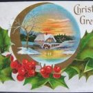 "VINTAGE ""CHRISTMAS GREETINGS"" EMBOSSED POSTCARD 1907"