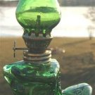VINTAGE MINIATURE GREEN GLASS BOOT SHAPED OIL LAMP