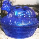 """COBALT BLUE """"COW IN A BASKET"""" 2 Pc. COVERED DISH NICE!"""