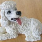 WHITE POODLE FUGURINE - PAINTED RESIN   VERY REAlISTIC!