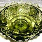 FENTON Hobnail Green Glass Candleholder Bowl (MINT)