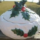 LEFTON WHITE HOLLY CANDY DISH w/ HOLLY HANDLE 1970/71
