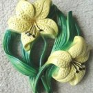 VINTAGE YELLOW LILIES CHALKWARE WALL HANGING 3-D!!