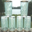 VINTAGE TURQUOISE & WHITE TUMBLERS - GOLD TRIM (6)