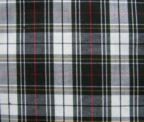 "BLACK WHITE RED YELLOW TARTAN PLAID FABRIC 60"" WIDE"