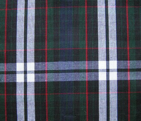 "BLACK GREEN RED WHITE TARTAN PLAID FABRIC 60"" WIDE"