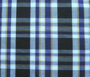 "10 YARDS BLACK WHITE PURPLE TARTAN PLAID FABRIC 60"" WIDE"