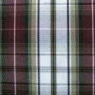 "3 YARDS KHAKI WHITE BURGUNDY TARTAN PLAID FABRIC 60"" WIDE"