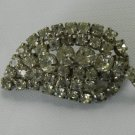 Vintage Faceted Rhinestone Brooch Pin Leaf
