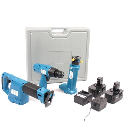 18v Cordless Combo Tool Kit With 2 Batteries (3 Pcs)