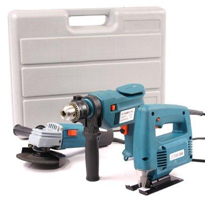 3 Pcs Electric Tool Kit (drill, Grinder, Jigsaw)