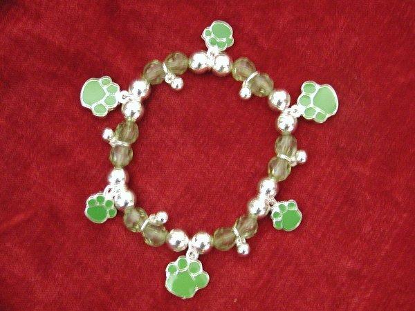Green Paw Print Bracelet