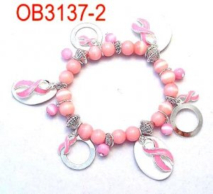 Pink Beaded Bracelet with Dangle Circles (Breast Cancer)