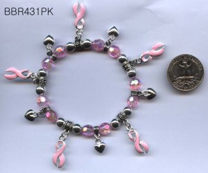 Pink ribbons w/silver hearts beaded bracelet