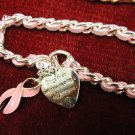 BREAST CANCER  Pink Suade band w/Silver Heart Toggle