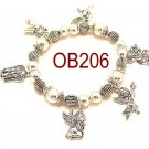 Wholesale Silver beaded Angel charm Bracelet