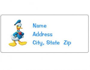 30 Personalized Donald Duck Return Address Labels