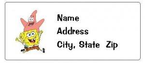 30 Personalized Spongebob Squarepants and Patrick Return Address Labels