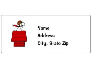 30 Personalized Snoopy Return Address Labels