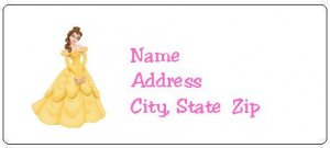 30 Personalized Disney Princess Belle Return Address Labels