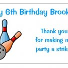 10 Personalized Bowling Party Goody Bag Labels