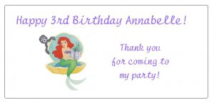 10 Personalized Little Mermaid Ariel Princess Party Goody Bag Labels