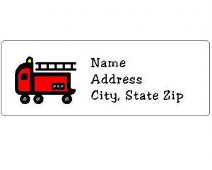 30 Personalized Firetruck Truck Return Address Labels