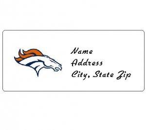 30 Personalized NFL Denver Broncos Return Address Labels
