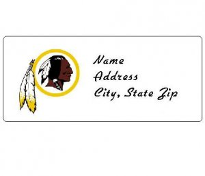 30 Personalized NFL Washington Redskins Address Labels