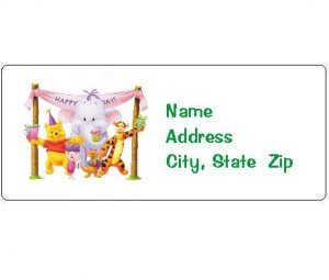 30 Personalized Winnie the Pooh Birthday Return Address Labels