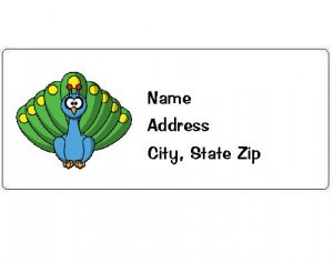 30 Personalized Peacock Return Address Labels
