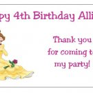 10 Personalized Disney Princess Belle Party Goody Bag Labels