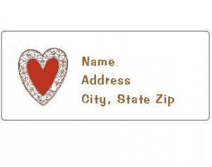30 Personalized Heart Return Address Labels